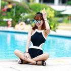 Color-block Cutout Swimsuit