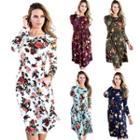 Floral Round Neck Midi Dress