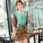 Elbow-sleeve Leopard-print Chiffon Dress