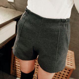 Band Waist Woolen Shorts