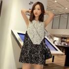 Lace Two-tone Sleeveless Dress