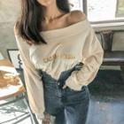 Off-shoulder Lettered Pullover