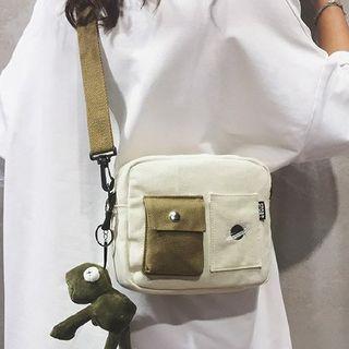 Embroidered Pocket Detail Crossbody Bag