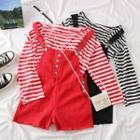 Set: Striped T-shirt + Denim Playsuit