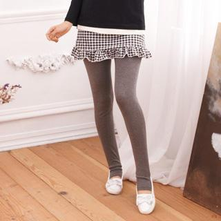 Inset Houndstooth-skirt Stirrup Leggings