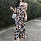 Set: Sleeveless Printed Top + Ruffled Skirt