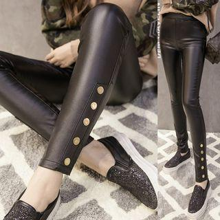 Buttoned Faux-leather Leggings