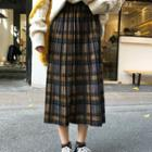 Midi A-line Pleated Plaid Skirt