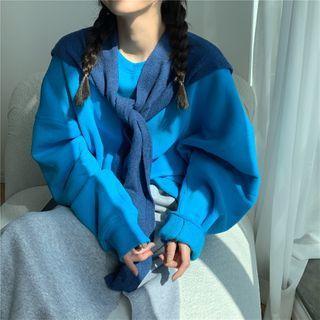 Fleece-lined Loose-fit Sweatshirt / Slit Skirt / Knit Shawl