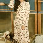 Patterned Long-sleeve Midi Dress / Knit Vest