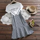 Lettering Plaid Short-sleeve Dress