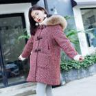 Hooded Toggle Patterned Coat