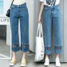 Cutout Cropped Straight-cut Jeans