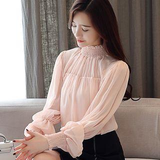 Stand-collar Long-sleeve Mesh Top