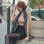 Mock-neck Elbow-sleeve Knit Top