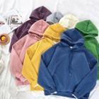 Mock Two-piece Plain Fleece Long-sleeve Hooded Sweatshirt