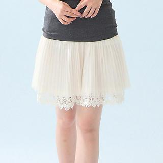 Lace-hem Pleated Tulle Skirt