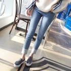 Contrast-hem Washed Tapered Jeans