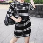 Set: Striped T-shirt + Skirt Black - One Size