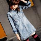 Printed Washed Buttoned Denim Coat