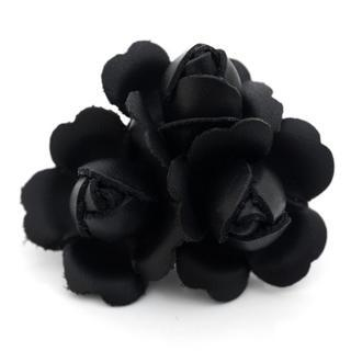 Black Leather Flower Charm
