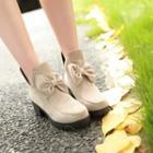Bow Chunky-heel Short Boots