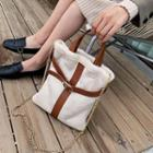Faux Shearling Buckled Tote Bag