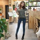 Zip-accent Skinny Jeans