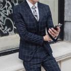 Suit Set: Plaid Button Blazer + Vest + Slim-fit Dress Pants