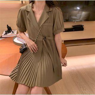 Notch Lapel Short-sleeve Accordion Pleat A-line Dress