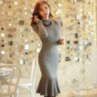 Mock-neck Ruffle-hem Rib-knit Dress
