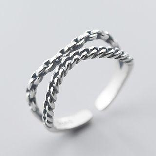 Layered Chain Open Ring Silver - One Size