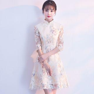 Elbow-sleeve Qipao Mini A-line Dress