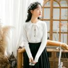 Tie-neck Buttoned Knit Top