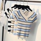 V-neck Striped Short-sleeve Knit Top