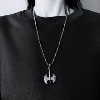 Axe Pendant Stainless Steel Necklace Silver - 60cm