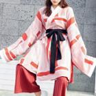 Long-sleeve Printed Wrap Dress / Striped Wide-leg Pants / Set