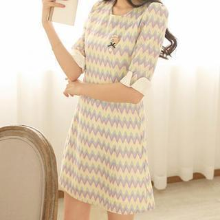 Elbow-sleeve Striped Dress