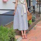 A-linen Striped Maxi Skirt