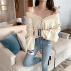 Color-block Loose-fit Sweater Almond - One Size