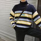 Mock Turtleneck Letter Applique Striped Sweater