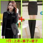Set: Pencil Skirt + Dress Pants + Collarless Blazer