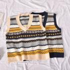 Contrast Color Jacquard Knit Vest