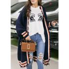 Open-front Fringed Contrast-trim Long Cardigan