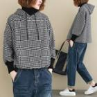 Mock Two-piece Patterned Hoodie Houndstooth - Black & White - One Size