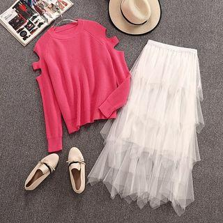 Set: Cutout Knit Top + Maxi Mesh Layered Skirt Rose Pink - One Size