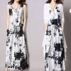 Set: Sleeveless Tie Dye Midi Dress + Long Cardigan