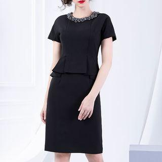 Rhinestone Short-sleeve Peplum Dress
