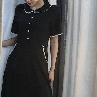 Lace-collar Short-sleeve Dress