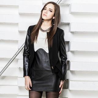 Faux-leather Panel Jacket